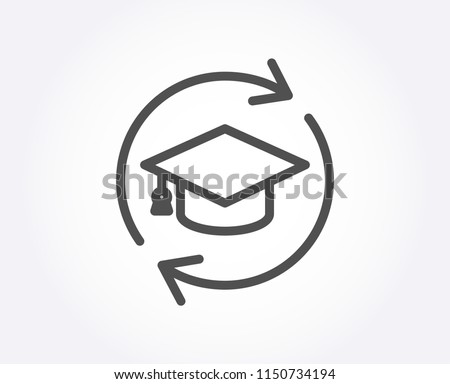 Continuing education line icon. Online education sign. Quality design element. Classic style. Editable stroke. Vector
