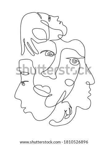 Continuous hand drawing style art. Black and white abstract composition with people portrets and body parts. Textile, paper, wall print artistic pattern. Contemporary one line art design in wire frame Stockfoto ©