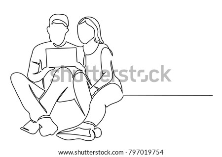 continuous line a young woman and a man are sitting and holding a tablet. They look at photos, work, discuss. Drawing line by hand on a white background.