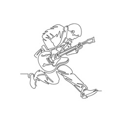 Continuous line art drawing man playing guitar