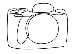 Continuous line art or One Line Drawing of a camera linear style and Hand drawn vector illustrations, outline