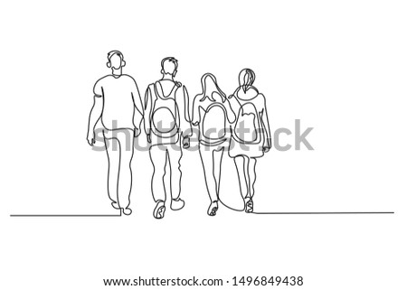 Continuous line art or One Line Drawing of a group of people to travel walking,.