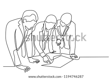 Continuous line art or One Line Drawing of business men meeting talking about business planning concepts.