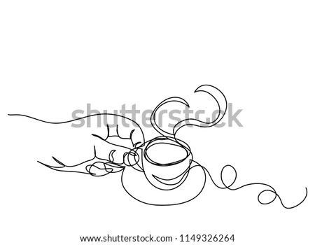 Continuous line art or One Line Drawing of coffee,warm. and Coffees cup  shop concept