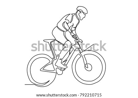 continuous line cyclist on a bicycle in competitions, drawn by hand. Icon, vector, picture, tattoo. Close-up.
