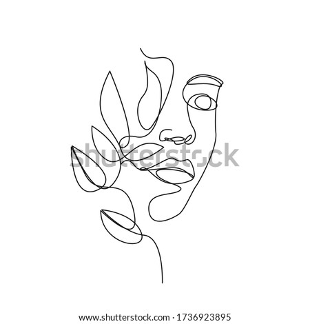 Continuous Line Drawing Abstract Face. One Line Abstract Portrait. Minimalist Portrait. Contour Face Wall Art Design. Line Art Print. Vector EPS 10.