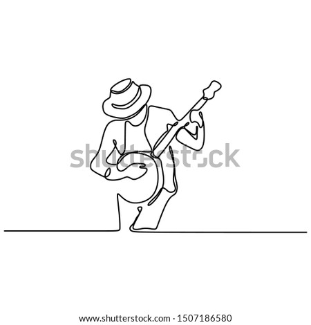 continuous line drawing banjo