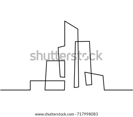 Continuous line drawing. Building Cityscape Line Art Silhouette. Vector illustration