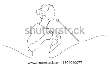 Continuous line drawing business presentation woman trainer talking one single line drawn character politics speaker, business coach speaking before audience Political meeting speech. Сток-фото ©