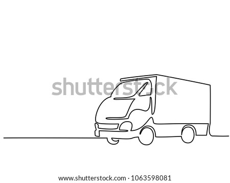 Continuous line drawing. Concept big lorry. Vector illustration