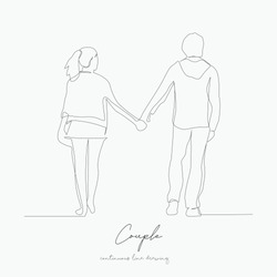 continuous line drawing. couple. simple vector illustration. couple concept hand drawing sketch line.