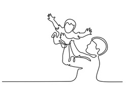 Continuous line drawing. Father holding happy son up in air. Vector illustration