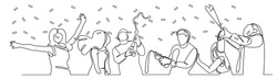 continuous line drawing Friends Party celebration champagne fun happiness.