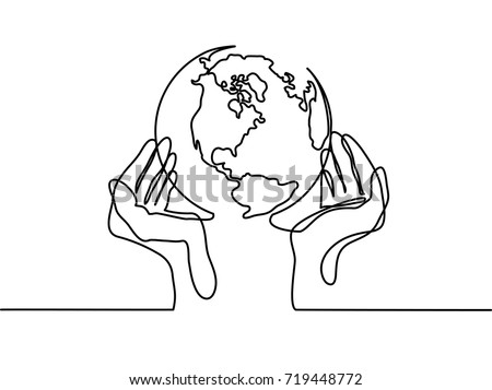 continuous line drawing globe