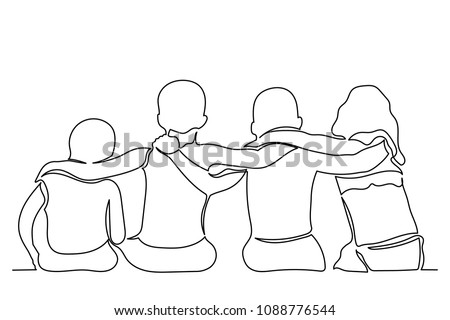 Continuous line drawing. Group of teenagers. Boys and girls are sitting with their backs. The concept of friendship, unity and mutual understanding. Black lines on a white background drawing by hand.