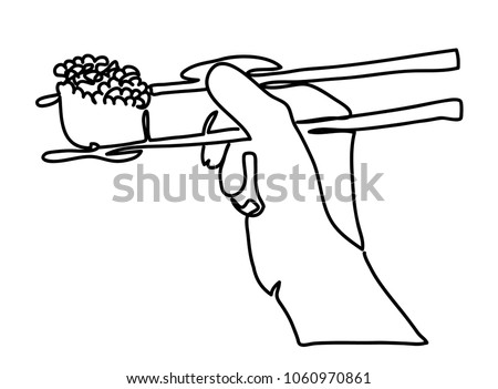 Continuous line drawing. Hand holding sushi roll isolated on white background. Vector illustration. Vector monochrome, drawing by lines. sketch