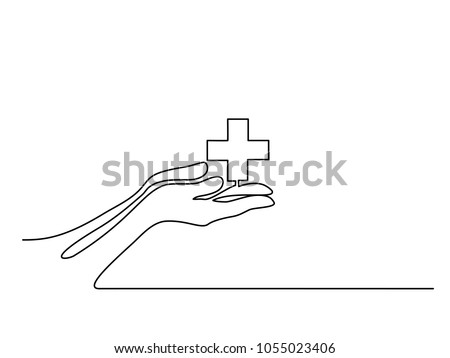 Continuous line drawing. Hands palms together with medical cross. Vector illustration