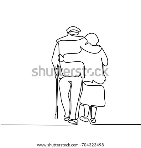 Stock Photo Continuous line drawing. Happy elderly couple hugging and walking. Vector illustration
