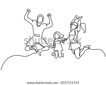 Continuous line drawing. Happy family jumping. Vector illustration