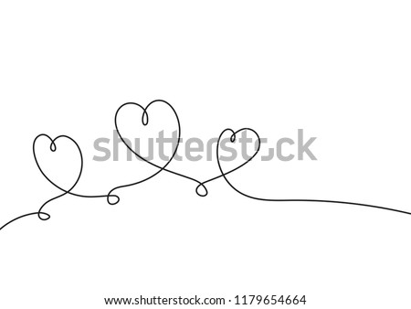 Continuous line drawing. Hearts of love concept on white background. Vector illustration