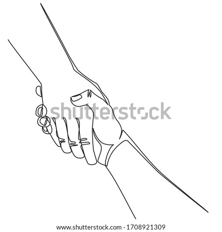 Continuous line drawing Helping hand concept. Gesture, sign of help and hope. Two hands taking each other. Isolated illustration on white background. Stockfoto ©