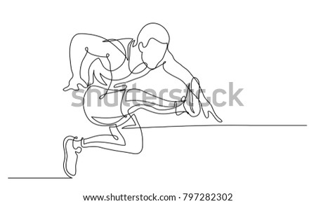 Continuous line drawing. Illustration shows a athlete. Running man. Hurdle race. Sport. Athletics. Vector illustration