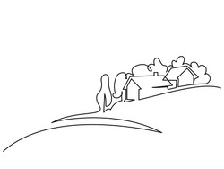 Continuous line drawing. Landscape with village on hill. Vector illustration. Concept for logo, card, banner, poster, flyer