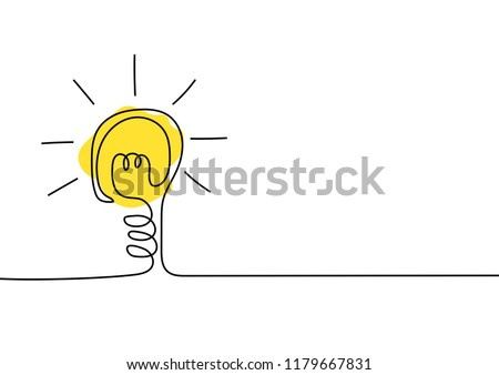Continuous line drawing. Light bulb of a yellow business ideas concept. Vector illustrations