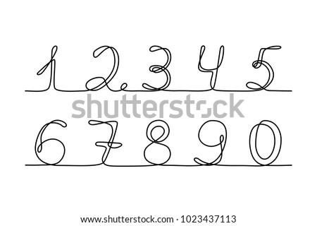 Continuous line drawing. Numbers. Black isolated on white background. Hand drawn vector illustration.