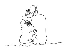 Continuous line, drawing of a couple sitting back to show love. Simple lines Vector illustrations