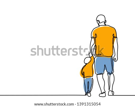 Continuous line drawing of a father and children lovely family concept Father's Day card happiness moment.
