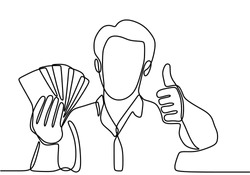 Continuous line drawing of a man holding a wad of money in his hand. Young happy business male holding money paper stack and gives thumbs up gesture. The concept of winning, financial profit, earn