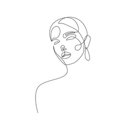 Continuous Line Drawing of Abstract Woman Face, Fashion Minimalist Concept, Woman Beauty Drawing, Vector Illustration. Good for Prints, T-shirt, Banners, Slogan Design Modern Graphics Style
