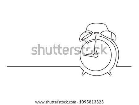 continuous line drawing of alarm clock
