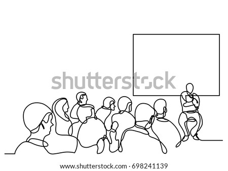 continuous line drawing of attendees and presenter
