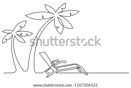 continuous line drawing of beach chair and palm trees