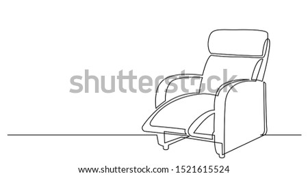 continuous line drawing of big comfortable recliner chair ストックフォト ©