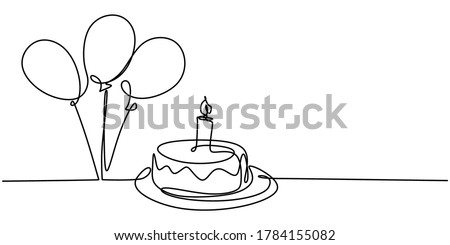 Continuous line drawing of birthday cake. A cake with sweet cream and candle. Celebration birthday party concept isolated on white background. Hand drawn vector design illustration Foto stock ©