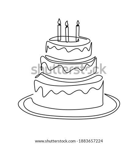 Continuous line drawing of birthday cake with candle. A cake with cream and candles. Birthday party celebration concept. Happy moment on white background vector illustration minimalism.