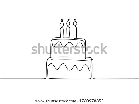 Continuous line drawing of Birthday cake with candle. A cake with cream and candles is drawn with a single line on a white background .Birthday party concept. Symbol of celebration