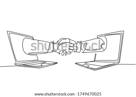 Continuous line drawing of business men shaking hand to deal a project. Hand come out from laptop screen. Digital online transaction concept. One line drawing graphic design, vector illustration