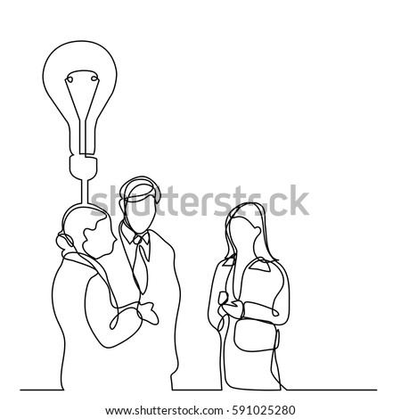 continuous line drawing of business people talking about idea