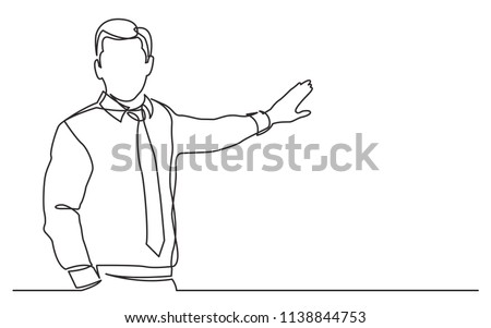continuous line drawing of business presentation - business trainer talking