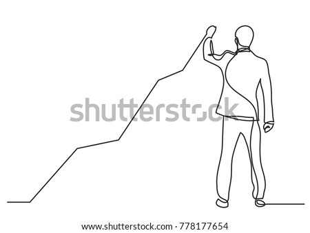 continuous line drawing of business situation - standing businessman drawing rising diagram