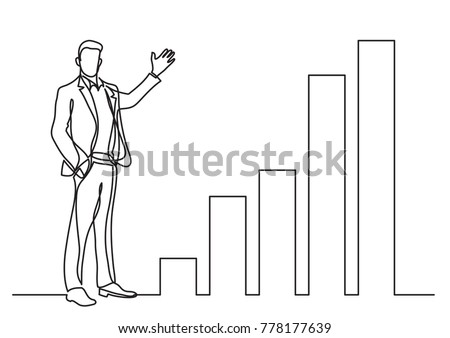 continuous line drawing of business situation - standing businessman presenting rising charts