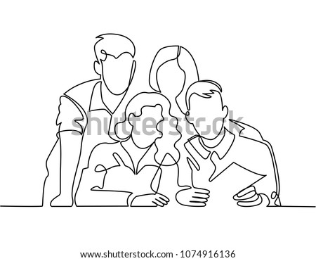 Continuous Line Drawing of Business Team or United Family and Travelers Learning Map