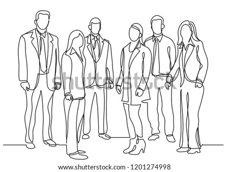 continuous line drawing of business team standing together