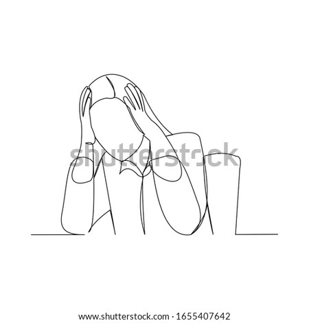 Continuous line drawing of business woman in depression, stressed, and despair. Vector illustration