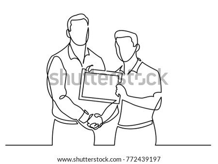 continuous line drawing of businessman congratulates another with certificate