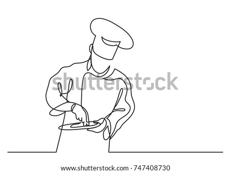 continuous line drawing of chef ...